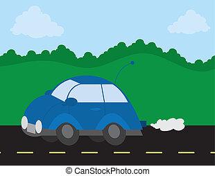 coche, conducción, camino