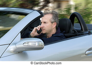 coche, conducción, hombre