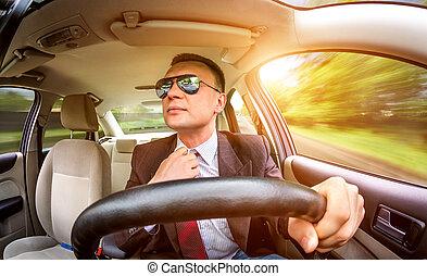 coche., conducción, hombre