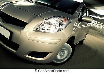 coche, conducir rápido, en, estacionamiento, casa