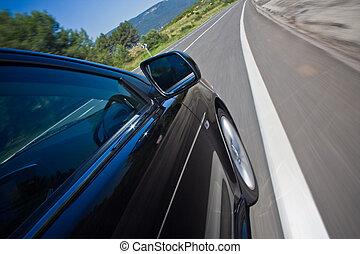 coche, conducir rápido, en, un, camino