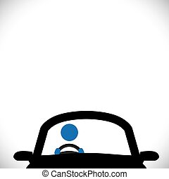 coche, conductor, icono, o, símbolo, -, vector, graphic.
