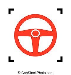 coche, conductor, signo., vector., rojo, icono, dentro, negro, foco, esquinas, blanco, fondo., isolated.
