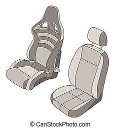 coche, conjunto, aislado, asiento