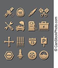 coche, conjunto, iconos