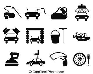 coche, conjunto, lavado, iconos