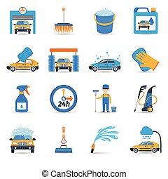 coche, conjunto, lavado, servicio, iconos