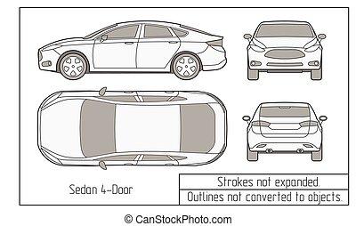 coche, contornos, objetos, no, dibujo, convertido, sedán, ...