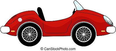coche, convertible, caricatura