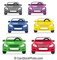 coche, convertible, colores, diferente