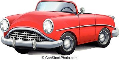 coche convertible, rojo, retro