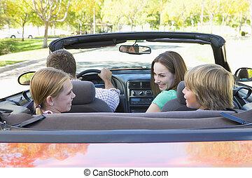 coche, convertible, sonriente, familia
