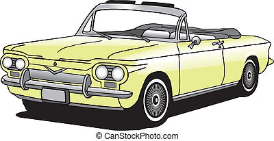 coche, convertible, vector, clásico