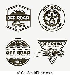 coche, cuatro, monocromo, emblemas, off-road, conjunto, suv