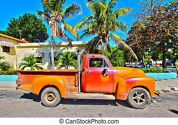 coche, cubano, viejo