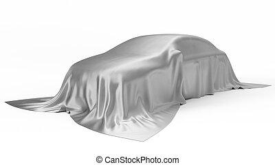 coche, cubierto, seda, ilustración, concept., plata, 3d