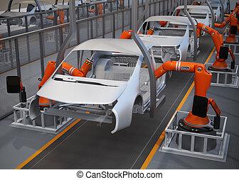 coche, cuerpo, marco, planta de fabricación
