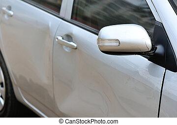 coche, dañado, después, accidente