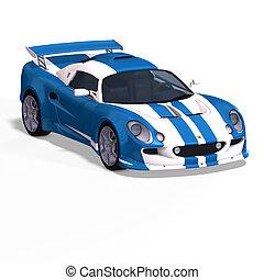 coche de carreras, fantasía, azul, blanco