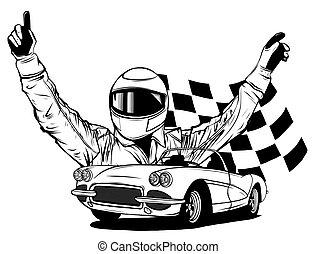 coche de la raza, vector, el suyo, ilustración, conductor, frente