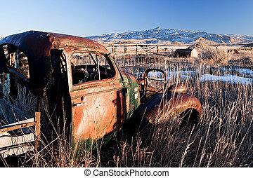 coche de la vendimia, abandonado