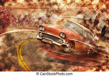coche de la vendimia, grunge, plano de fondo