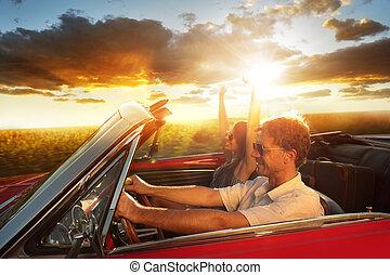 coche de la vendimia, pareja