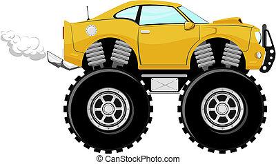 coche, deporte, 4x4, monstruo