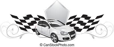 coche., deporte, diseño, icono