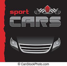 coche., deporte, diseño, plano de fondo