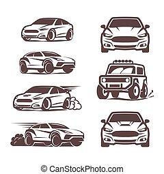 coche, deporte, iconos, conjunto, sedán, 4x4, suv