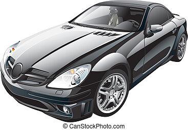 coche, deporte, negro