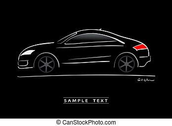 coche, deporte, silueta, negro