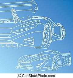 coche deportivo, bosquejo, cianotipo