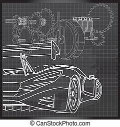 coche deportivo, bosquejo, en, respaldo