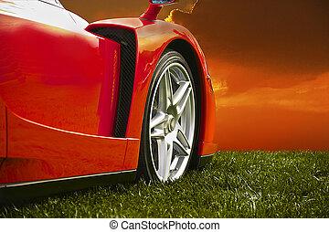 coche deportivo, en, ocaso