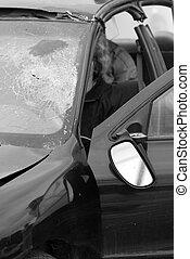 coche, desaturated, accident.