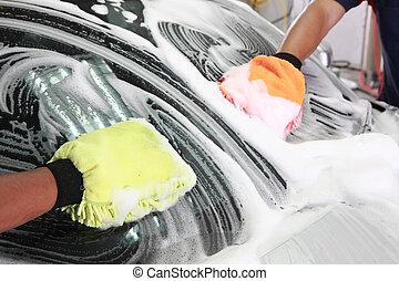 coche, detallar, lavado