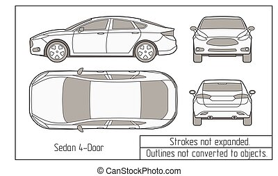 coche, dibujo, suv, objetos, sedán, no, convertido,...