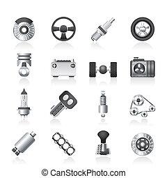 coche, diferente, partes, clase, iconos