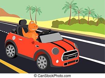 coche, dinosaurio