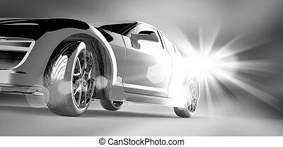 coche, diseño, 3d