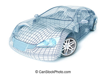 coche, diseño, alambre, modelo