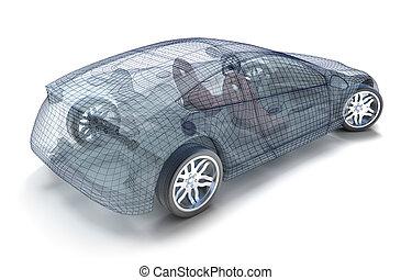 coche, diseño, wireframe, modelo