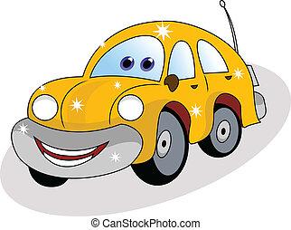 coche, divertido, amarillo