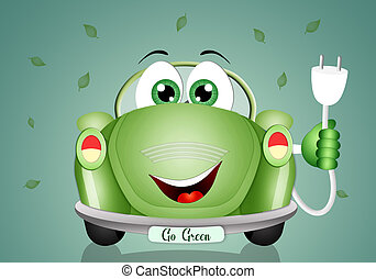coche, ecológico, verde