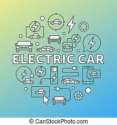 coche eléctrico, moderno, vector, redondo, ilustración