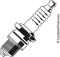 coche eléctrico, símbolo, ilustración, vector, vela