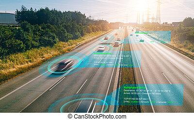 coche, elegante, vehículo, sistema, self-driving, modo, (hud...