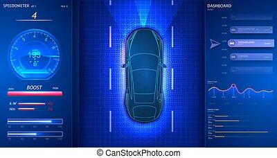 coche, elegante, velocímetro, interface., moderno, dashboard.